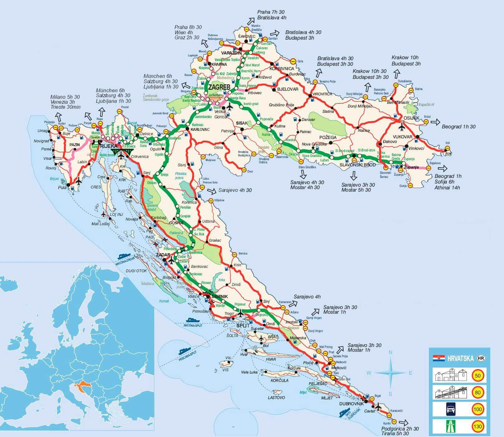 Carte des infrastructures de transport en Croatie
